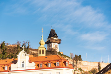 Panorama view at Schlossberg hill with fortress and clock-tower