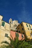 View of the medieval village of Cervo Ligure, elected as one of the most beautiful borough in Italy, with St John the Baptist church also called