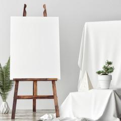 Mock up Canvas in artistic studio, two rose poufs, 3d render, 3d illustration
