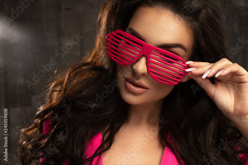 High fashion look.glamor lifestyle brunette woman girl in glasses