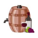 wine bottle cup grapes barrel - 245059830