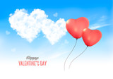 Two valentine heart-shaped baloons in a blue sky with clouds. Vector background - 245059843