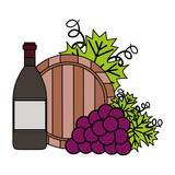 wine bottle grapes and barrel - 245061665