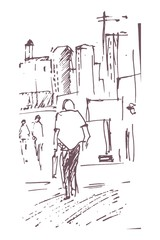 Urban sketching. Hand drawn illustration for your design