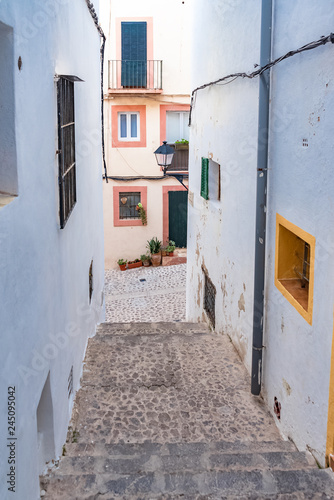 Ibiza, Spain, typical pedestrian street of Eivissa city, beautiful mediterranean © Pascale Gueret