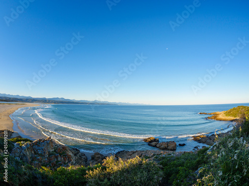 View of Lookout Beach Keurbooms River and the Tsitsikamma Mountains. Plettenberg Bay. Garden Route. Western Cape. South Africa