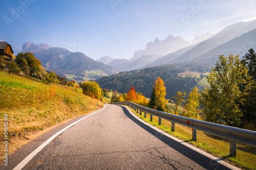 Funes Valley, near Santa Magdalena, during autumn. Dolomites, South Tyrol, Italy
