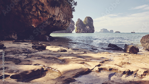 Quiet cove in Krabi province, retro color toned picture, Thailand.