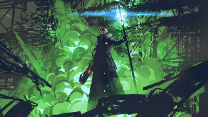 sci-fi character in black cloak with light spear standing against green explosion, digital art style, illustration painting © grandfailure