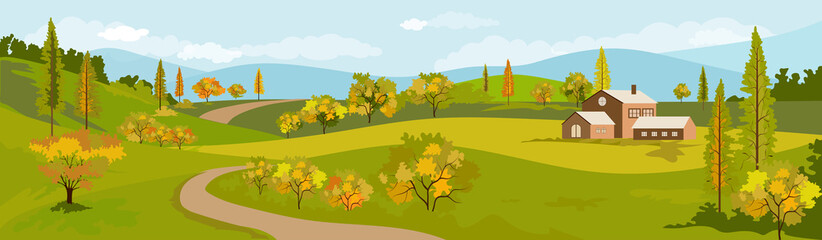 Panorama view of spring village with green meadow and sunflowers on hills with blue sky, Vector Summer or Autumnn landscape, Panoramic countryside landscape mountains and farmhouse with yellowe flower © Anchalee