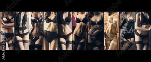obraz PCV Sexy women in beautiful lingerie. Erotic underwear collage.
