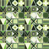 Geometric vector seamless pattern with different geometrical hand drawn forms. Square, triangle, rectangle, dots, circle cross Modern techno design Abstract green background Graphic green Illustration - 245135419