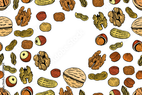 Vector seamless pattern with nuts © Volodymyr Vechirnii