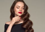 Beautiful hair woman long brunette hairstyle female healthy skin beauty makeup cosmetic concept - 245146038