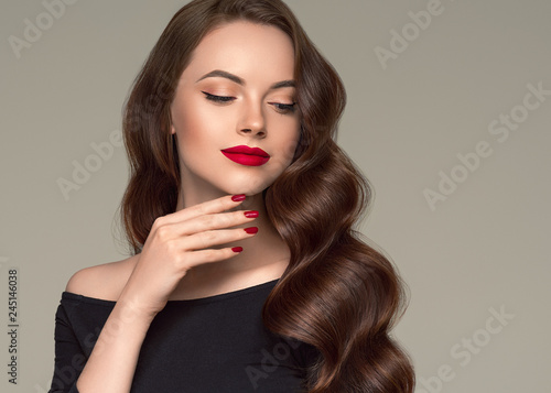 Beautiful hair woman long brunette hairstyle female healthy skin beauty makeup cosmetic concept