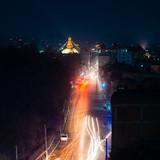 Boudhanath stupa and Boudha Road at night in Nepal.  - 245150254