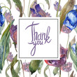 Purple and blue tulip floral botanical flower. Watercolor background illustration set. Frame border ornament square. - 245171249