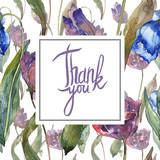 Purple and blue tulip floral botanical flower. Watercolor background illustration set. Frame border ornament square.