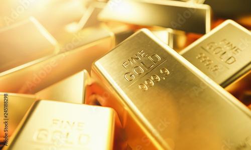 Leinwandbild Motiv Gold Bars 1000 grams. Concept of wealth and reserve