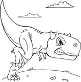 Carnotaurus Dinosaur Coloring Page Vector Illustration Art