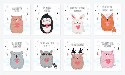 Vector line drawing postcard collection with cute animals and hearts.