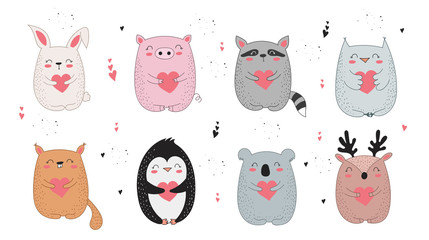 Vector line drawing collection of cute animals with hearts