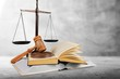 Leinwandbild Motiv Justice Scales and books and wooden gavel on table. Justice