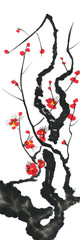 A branch of a blossoming sakura. Pink and red stylized flowers of plum mei and  wild cherry . Watercolor and ink illustration of tree in style sumi-e, go-hua,  u-sin. Oriental traditional painting. . © marinakutukova
