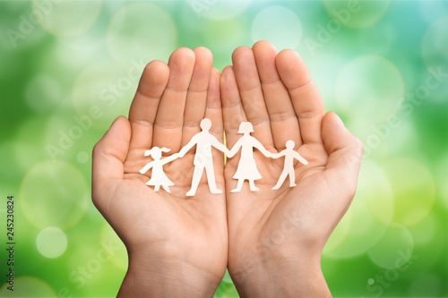 Leinwandbild Motiv Love and relationships concept - closeup of man's cupped hands
