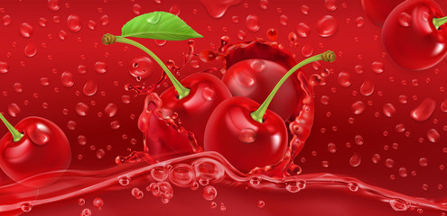 Drops. Cherry juicy. 3d realistic vector