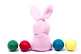 pink plush rabbit with carrot, isolate