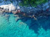 Beautiful beach at fisherman town, Dalmatia, Croatia. Island Solta south of Split, famous landmark and travel touristic destination in Europe.