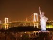 お台場 自由の女神像とレインボーブリッジ