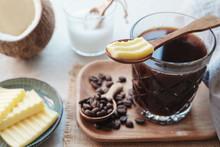 "Постер, картина, фотообои ""bulletproof coffee, blended with organic grass fed butter and MCT coconut oil, ketogenic food"""