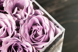 Pastel purple hued roses in clear acrylic crystal flower box. Square glass gift box. Overhead, copyspace - 245280694