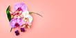 Orchid flowers on living coral color background