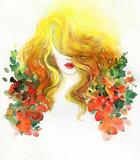 beautiful woman. fashion illustration. watercolor painting - 245295849