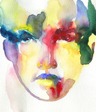 abstract face. watercolor painting - 245296034