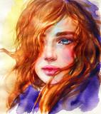 beautiful woman. fashion illustration. watercolor painting - 245296272