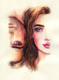 man and woman. fashion illustration. watercolor painting - 245296412