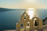 Beautiful White architecture Church on Santorini island, Greece.