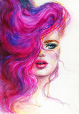 beautiful woman with pink hair. watercolor illustration - 245299291