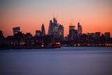 Illuminated London cityscape with beautiful sunset