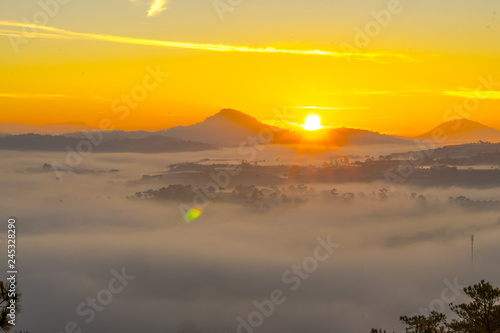 fototapeta na ścianę The sun growing up in an early morning at Da Lat city, nice view from top of pine hill, Under the sun, the fog became like gold