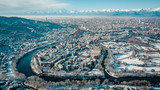 Fototapeta Fototapety miasto - Turin, Italy, winter time in Turin, drone aerial photograph of the city. © catwalkphotos