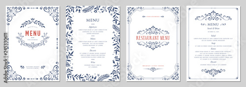 Ornate classic templates set in vintage style. Wedding and restaurant menu. - 245330611