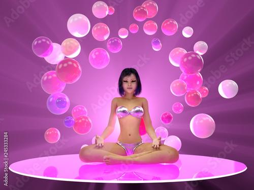 Leinwanddruck Bild young woman meditating in yoga pose
