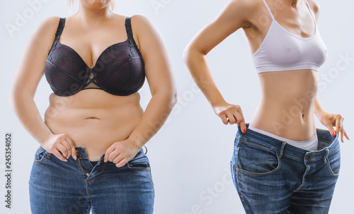 Leinwandbild Motiv Woman's body before and after weight loss on background