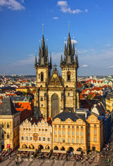 Prague, Czech Republic. Staromestska square, Church of our Lady Tyn