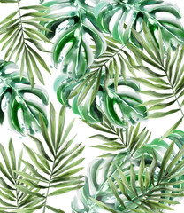 Palm leaves pattern Vector watercolor. Tropic exotic texture. Wild green decors